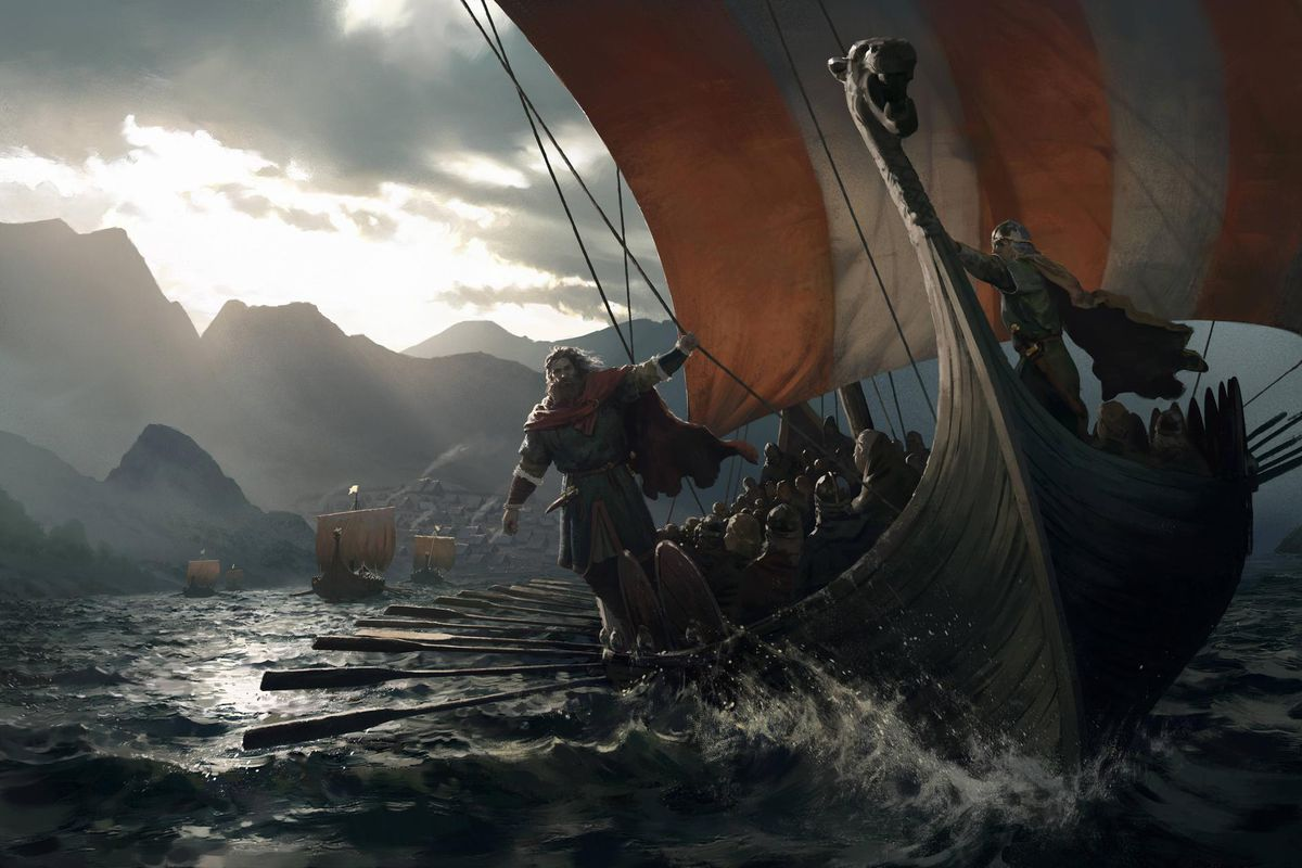 Crusader Kings 3 - Norse longship sails against a grey sky, with a raider hanging off the edge near the water's surface.