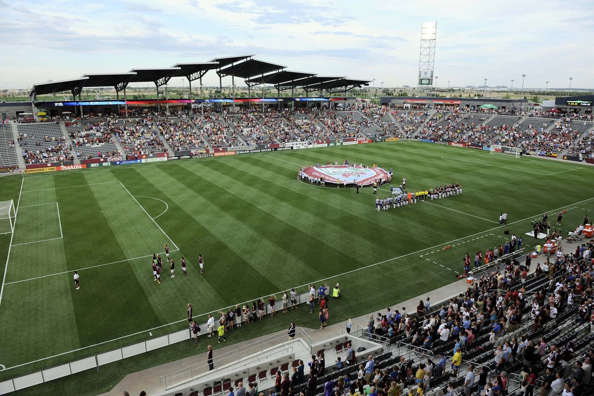 July 14, 2012; Commerce City, CO, USA; General view of Dick's Sporting Goods Park before the game between FC Dallas and the Colorado Rapids. Mandatory Credit: Ron Chenoy-US PRESSWIRE
