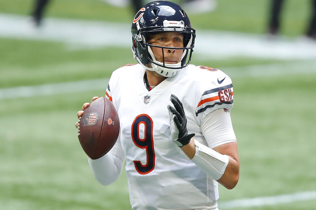 Nick Foles #9 of the Chicago Bears passes during the second half of an NFL game against the Atlanta Falcons at Mercedes-Benz Stadium on September 27, 2020 in Atlanta, Georgia.