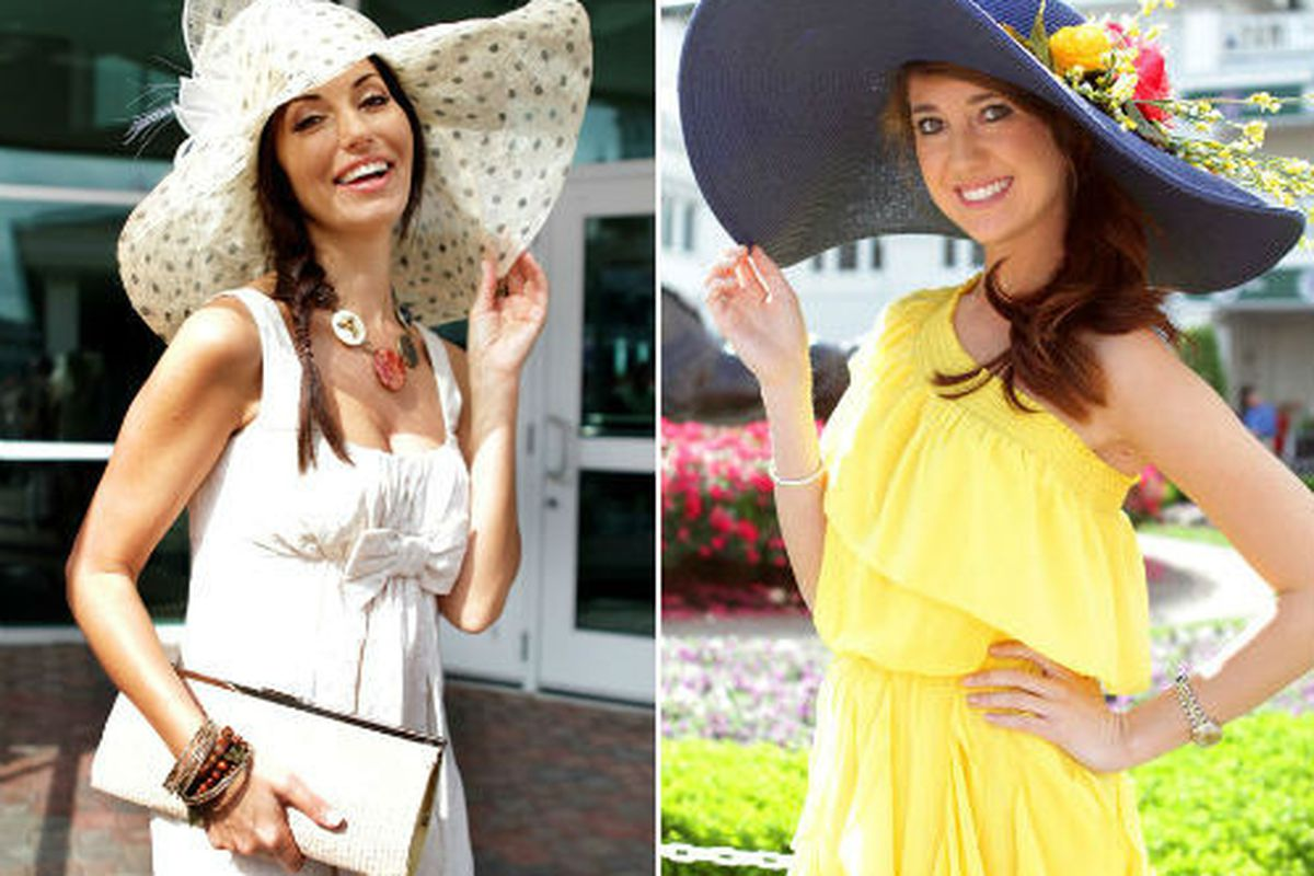 """Two of the Derby's best and brightest, via <a href=""""http://www.elle.com/Fashion/Street-Chic/Hat-Trick-Style-at-the-2012-Kentucky-Derby#mode=base;slide=0;"""">Elle</a>"""