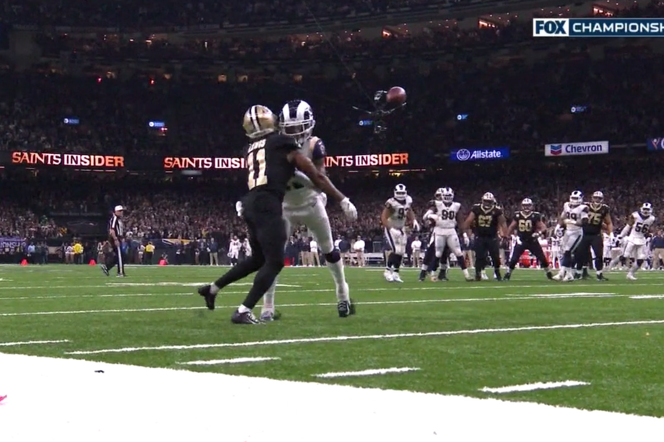 Screen Shot 2019 01 20 at 2.59.44 PM.0 - Missed pass interference on Rams probably cost Saints a Super Bowl spot