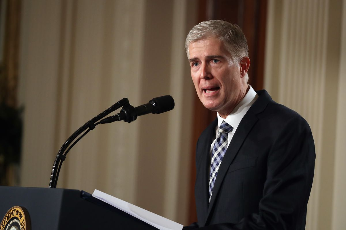 Judge Neil Gorsuch delivers brief remarks after being nominated to the Supreme Court.