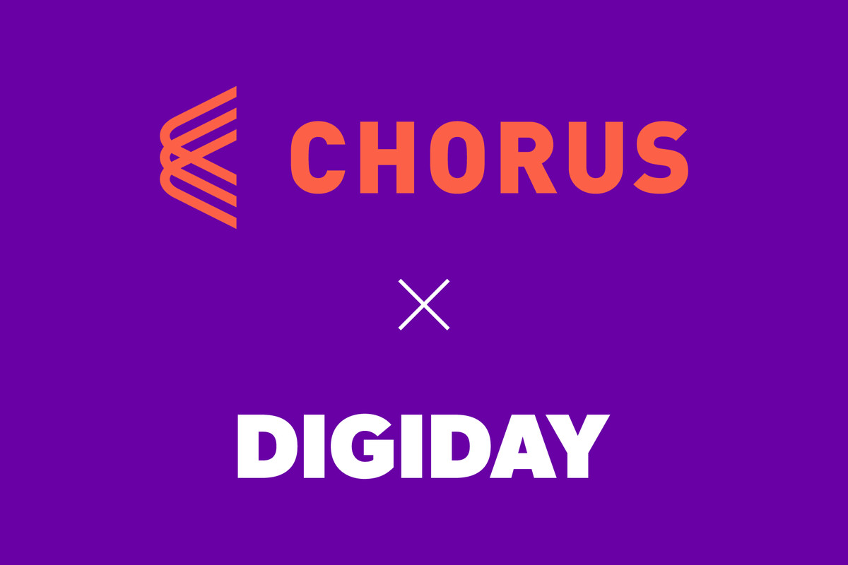 Text-only graphic showing the Chorus logo in orange, the Digiday logo in white, separated by a multiplication symbol. Logos are placed on a purple background.