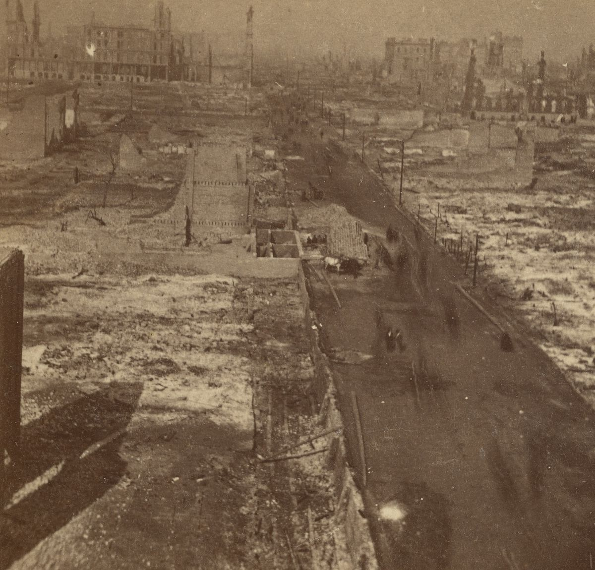 Clark Street, looking north from Harrison Street, after the fire.