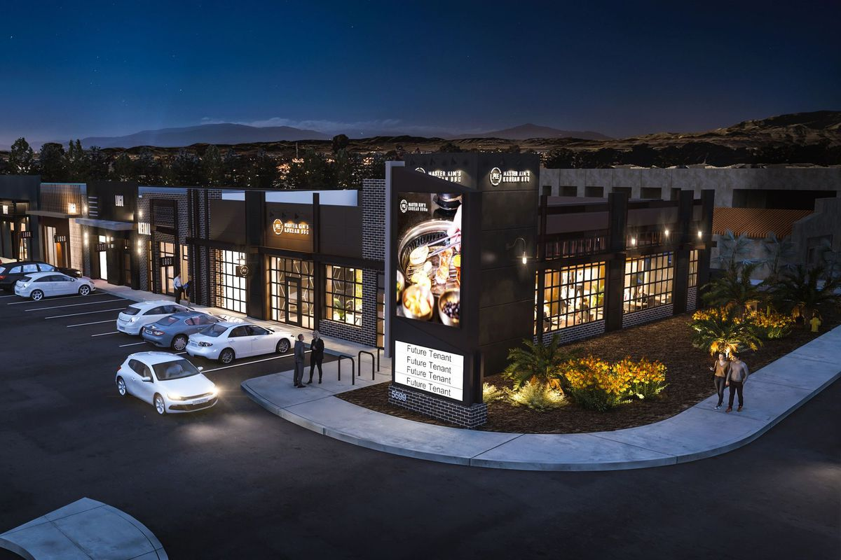 A rendering of of the future Master Kim's Korean BBQ on Spring Mountain Road, from the Sapporo Restaurant Group.