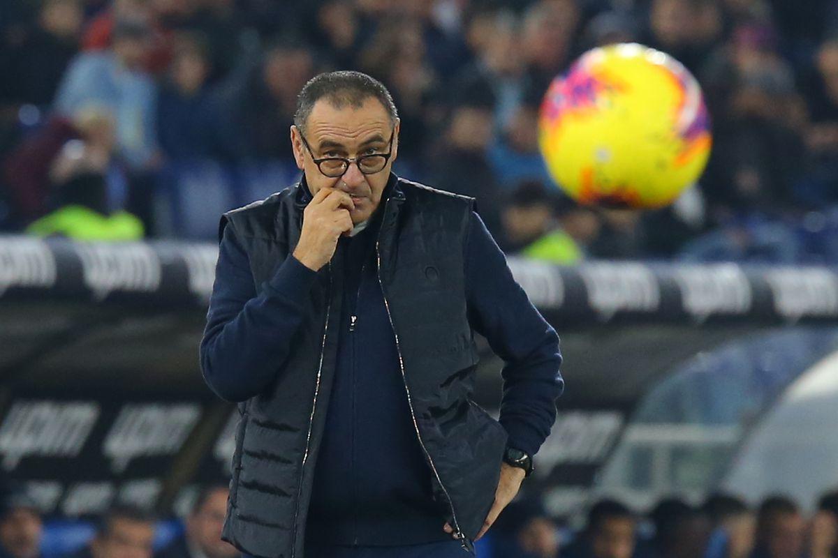 Juventus' Italian coach Maurizio Sarri looks on during the...