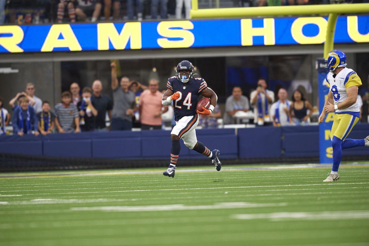 Chicago Bears Khalil Herbert (24) in action, returning kick vs Los Angeles Rams at SoFi Stadium.