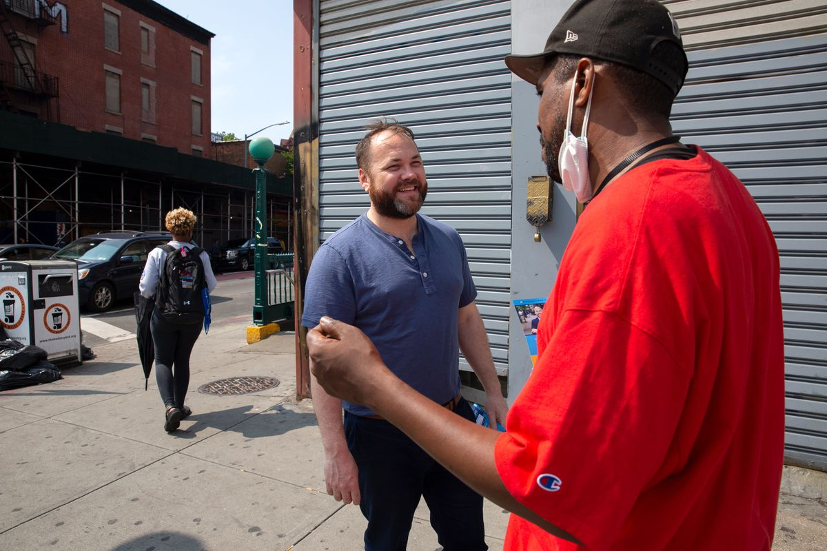City Council Speaker Corey Johnson campaigns for comptroller in Bed-Stuy, Brooklyn, June 14, 2021.