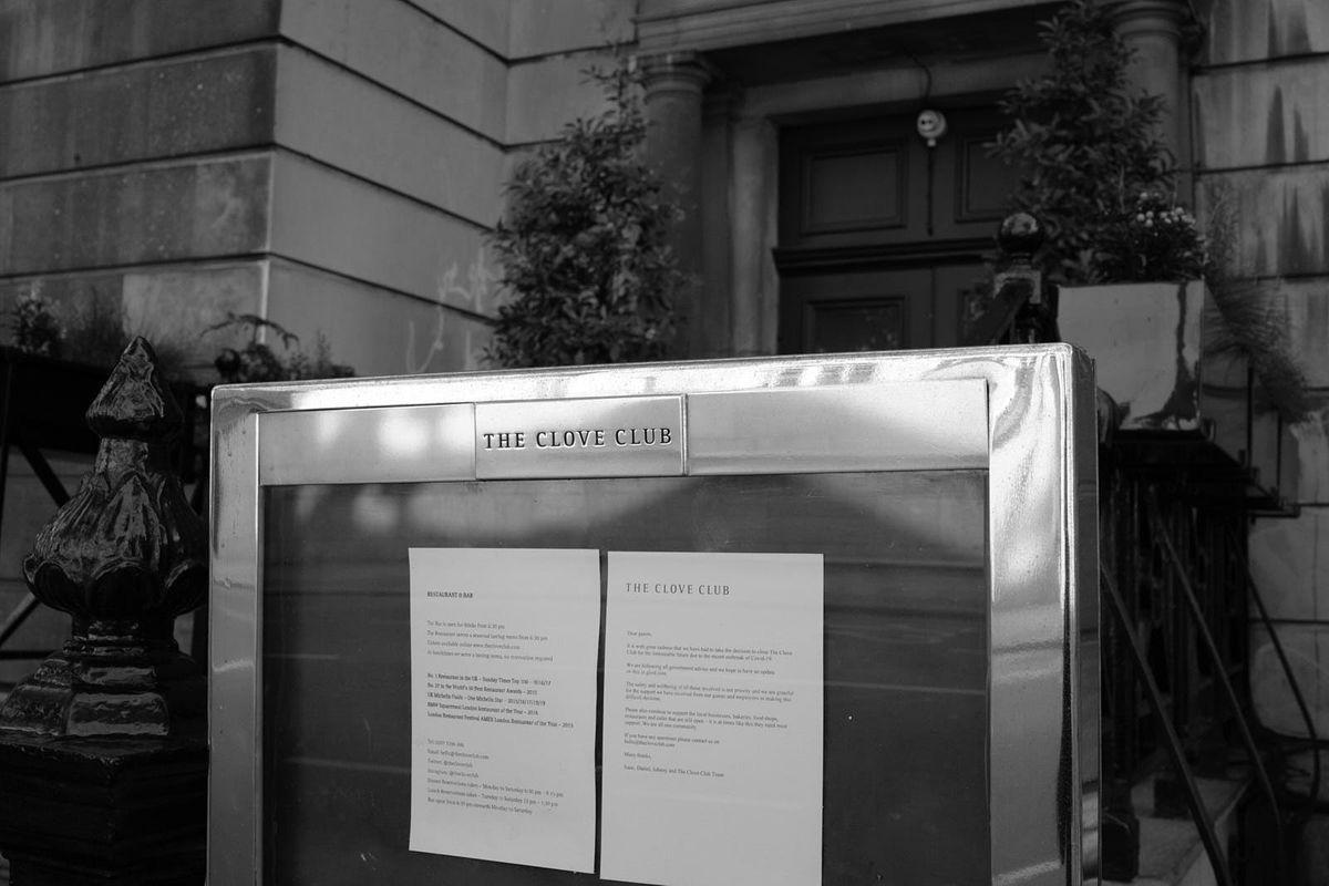 The menu board outside Michelin-starred restaurant The Clove Club in Shoreditch