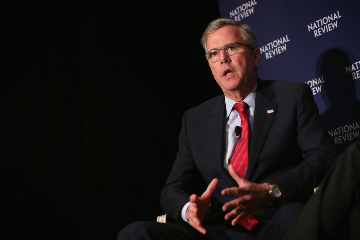 Republican US presidential hopeful and former Florida Governor Jeb Bush participates in a discussion with the editor of the National Review, Rich Lowry, April 30.