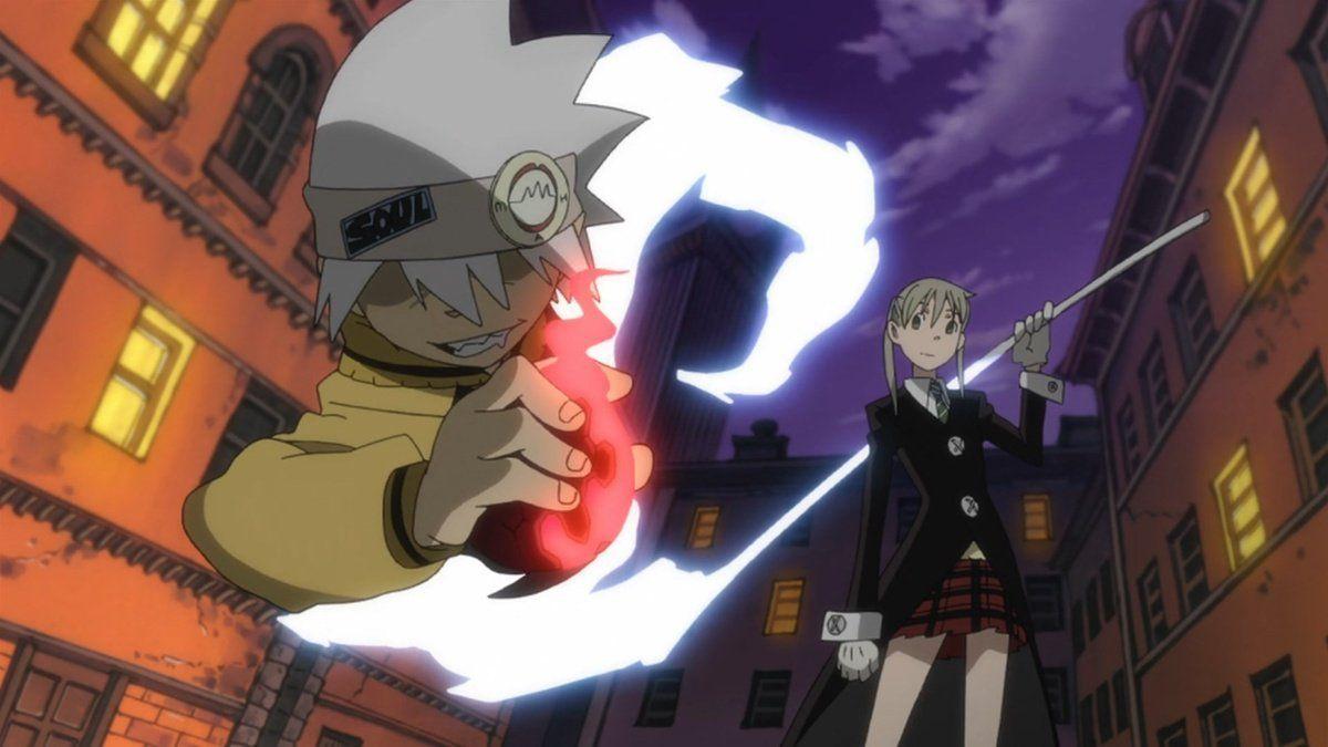 Maka Albarn and her demon scythe weapon Soul Evans in the 2008 anime Soul Eaters