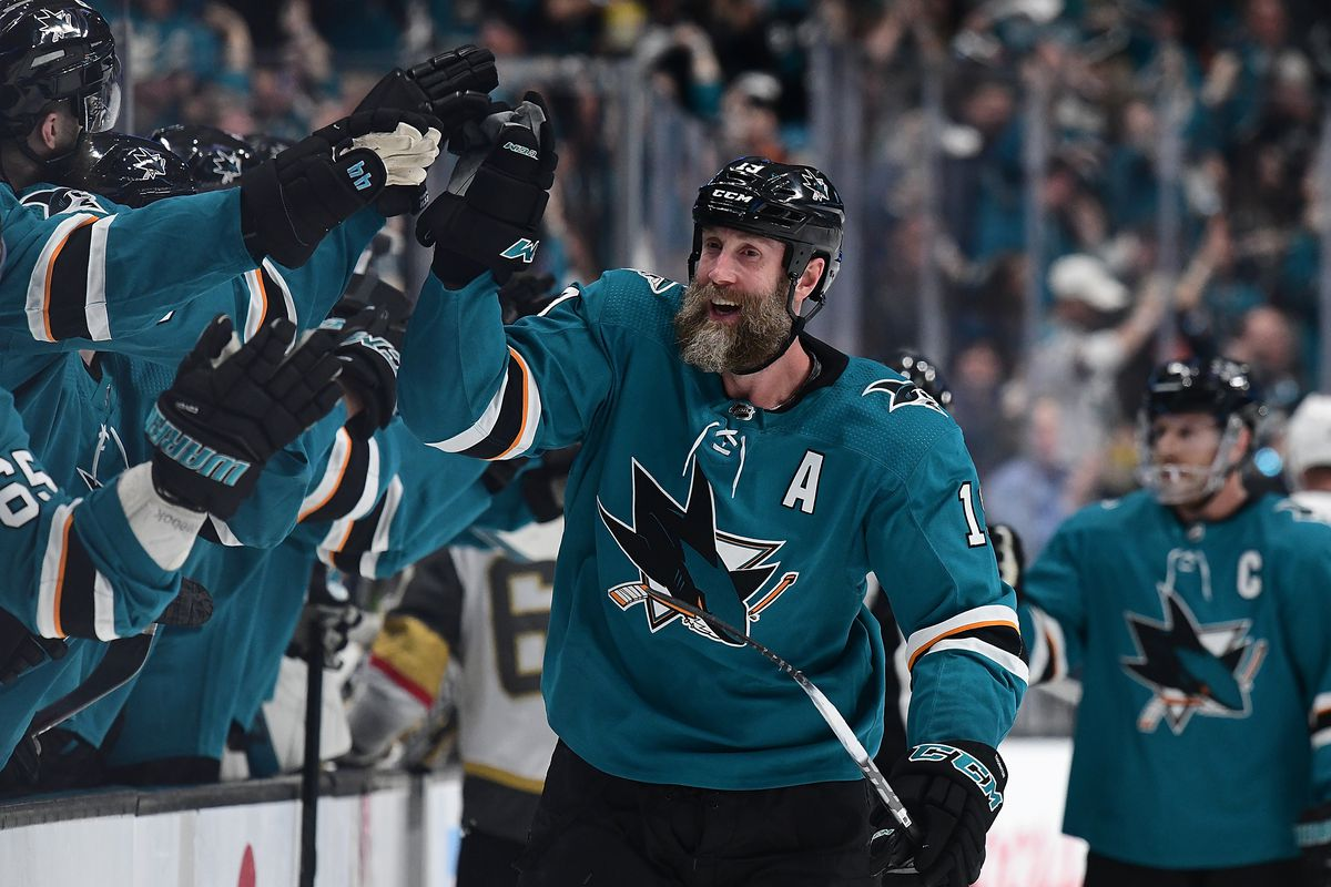 Joe Thornton of the San Jose Sharks is congratulated by teammates after he scored a goal against the Vegas Golden Knights during the first period in Game 2 of the First Round during the 2019 NHL Stanley Cup Playoffs at SAP Center on April 12, 2019 in San
