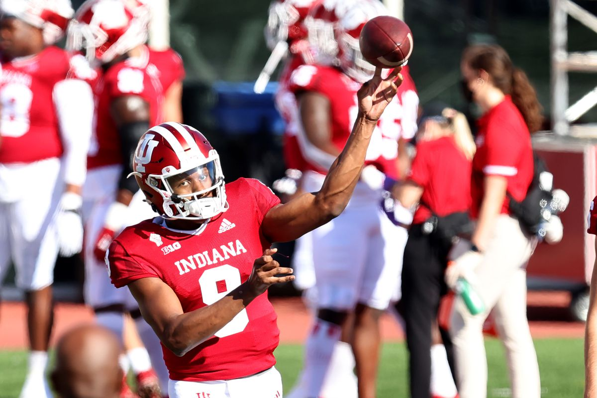 Michael Penix Jr. of the Indiana Hoosiers warms up before the game against the Michigan Wolverines at Memorial Stadium on November 07, 2020 in Bloomington, Indiana.