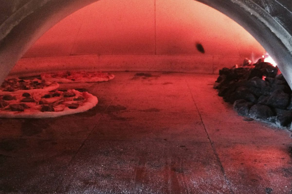 Max & Leo's coal-fired pizza oven