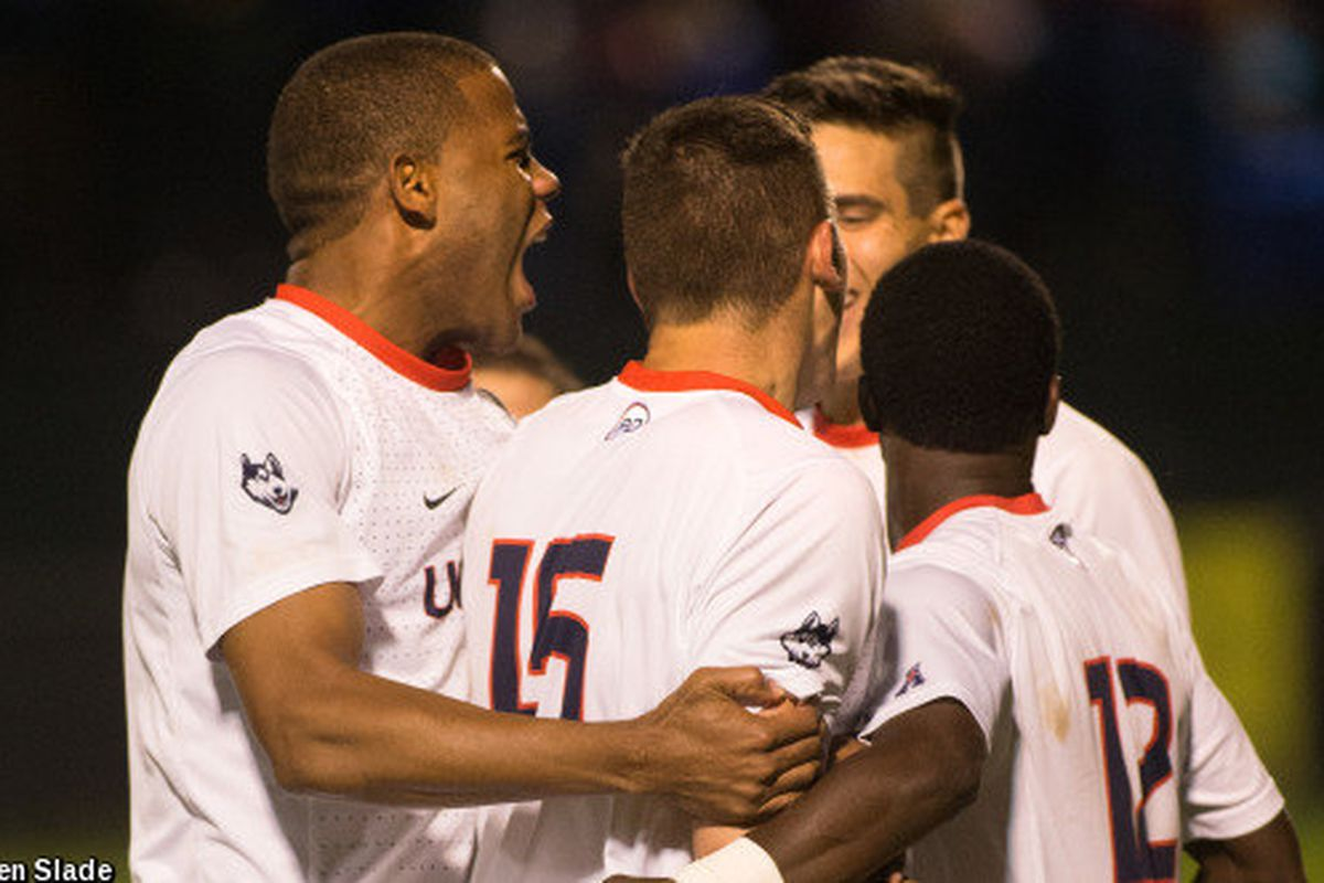 Sergio Campbell (left), Jakob Nerwinski (center), and Cheikh Stephane Coly (right) celebrate a goal