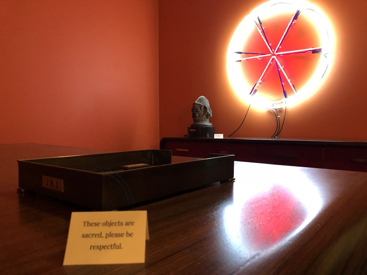 """""""The Hope For Land Ownership"""" (right) is one of two neon pieces created by Theaster Gates for this exhibition.   BILL STAMETS/FOR THE SUN-TIMES"""