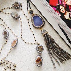 "Golden Nugget necklace (left), $345: quartz and crystal-encrusted druzy quartz on a 36"" strand"