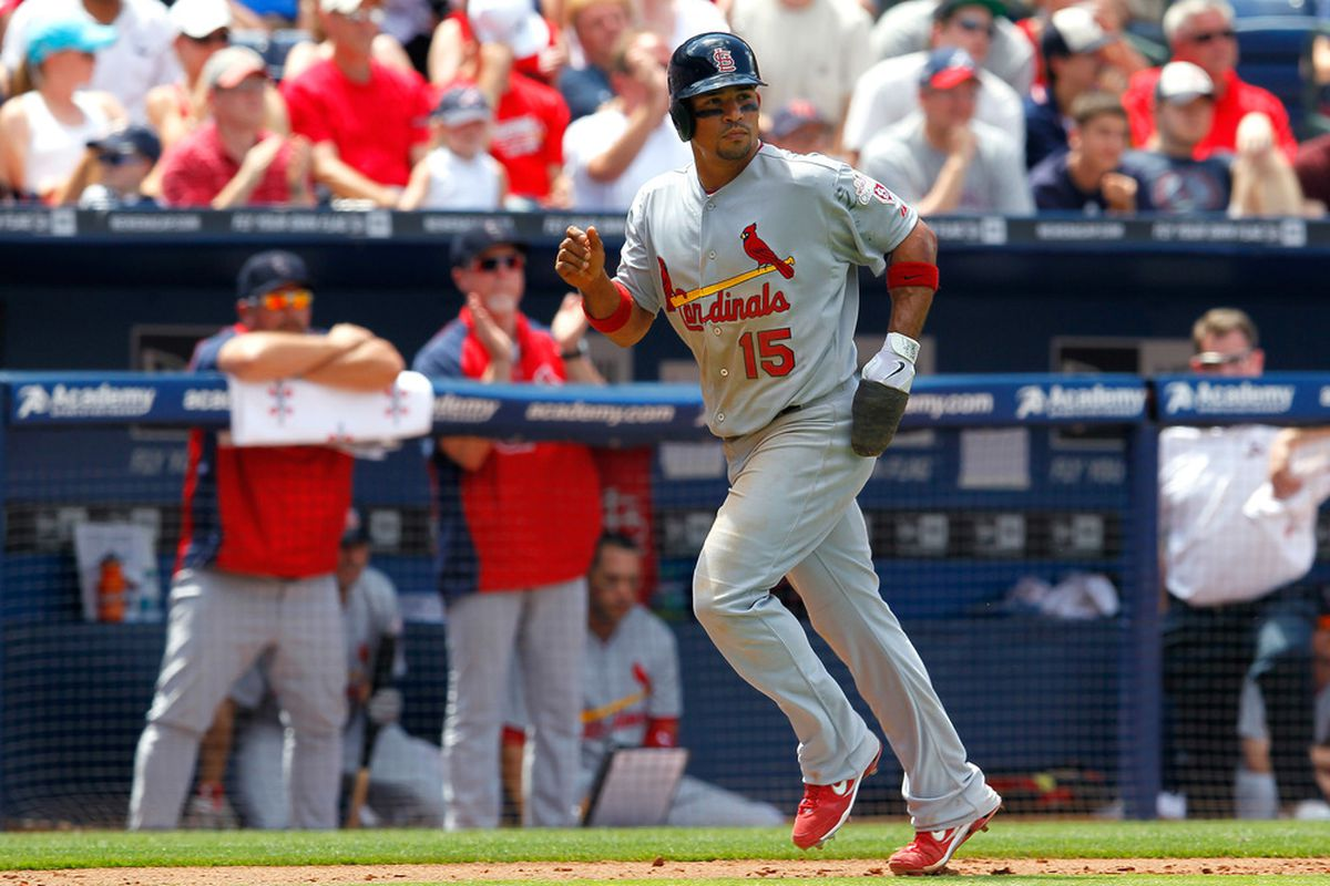 ATLANTA, GA - MAY 28:  Rafael Furcal #15 of the St. Louis Cardinals scores in the sixth inning against the Atlanta Braves at Turner Field on May 28, 2012 in Atlanta, Georgia.  (Photo by Kevin C. Cox/Getty Images)