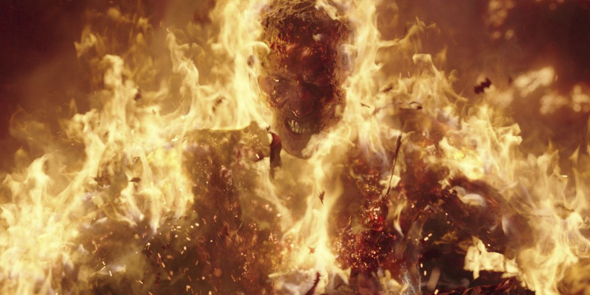 machine gun kelly on fire during a fight scene in project power