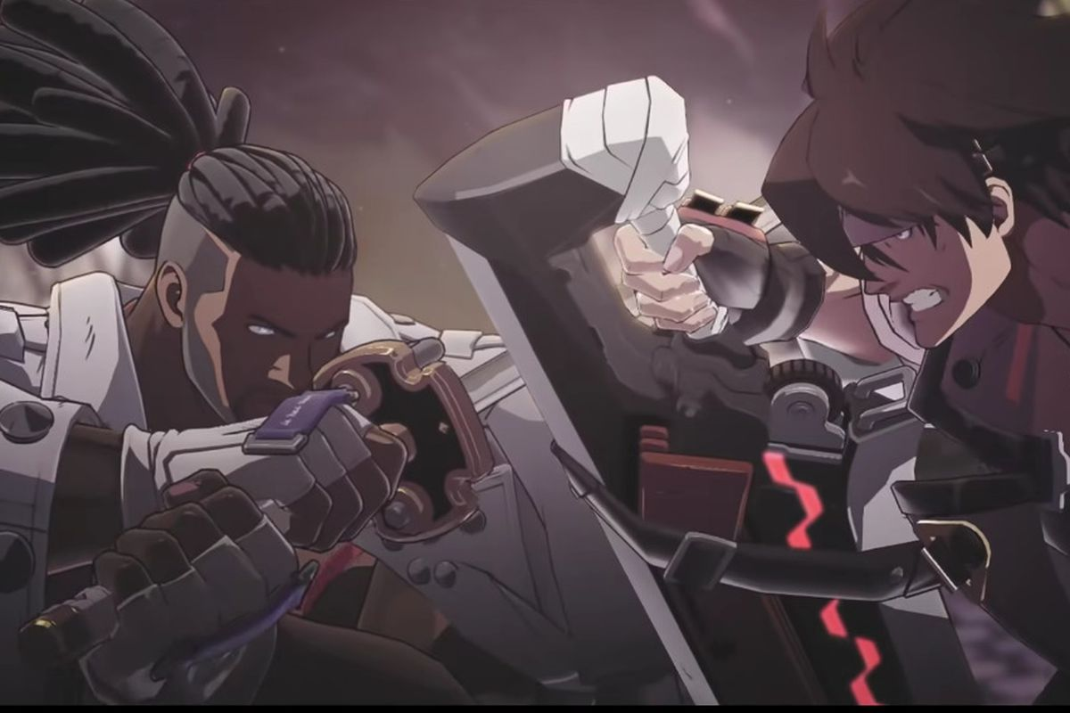 Nagoriyuki and Sol Badguy from Guilty Gear Strive fight against one another