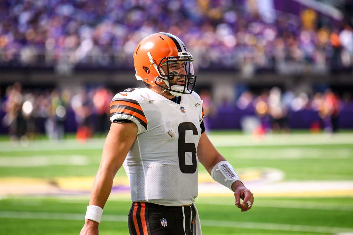 Baker Mayfield #6 of the Cleveland Browns heads to the sidelines in the second quarter of the game against the Minnesota Vikings at U.S. Bank Stadium on October 3, 2021 in Minneapolis, Minnesota.