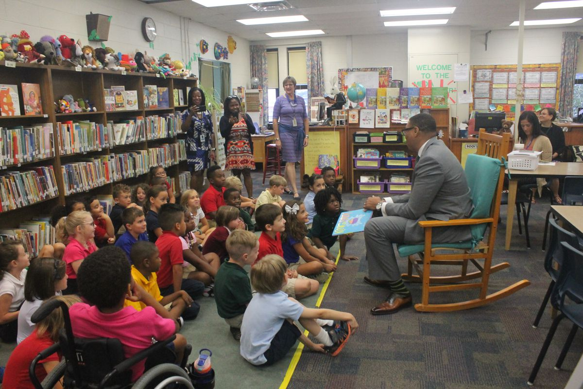 Ferebee read Kate Beaton's book King Baby to a group of second graders at CFI 27.