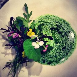 Chef Sergio Perera of The Amalur Project  Bouquet of flowers and herbs, green onion vinaigrette