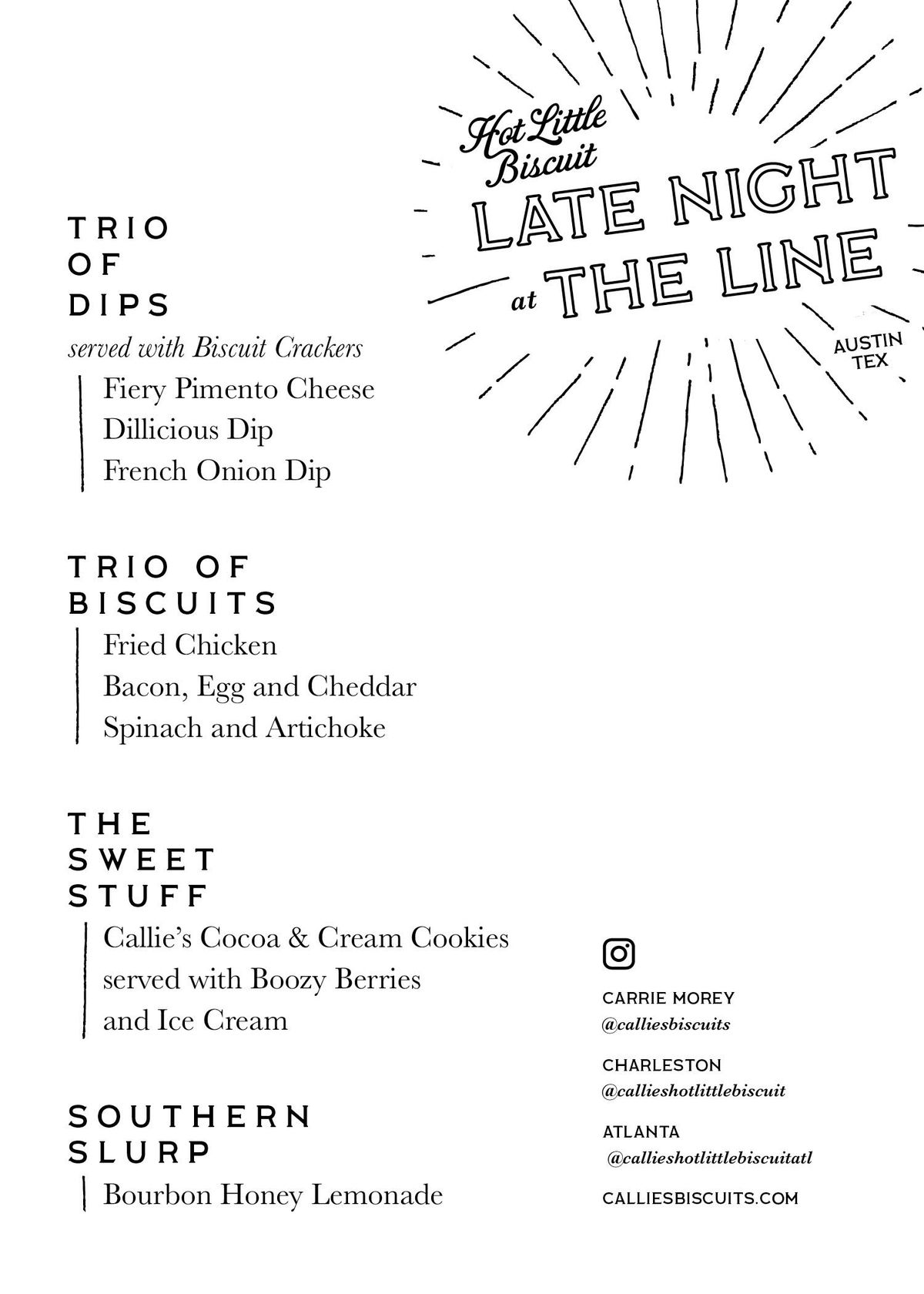 Callie's Hot Little Biscuit's menu for its Line Hotel pop-up