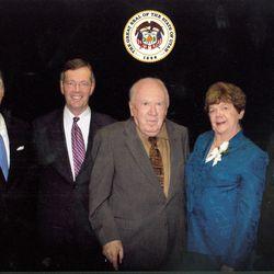 File- Jon Huntsman, Michael Leavitt, Calvin Rampton, Olene Walker, Norman Bangerter, former Utah governors.