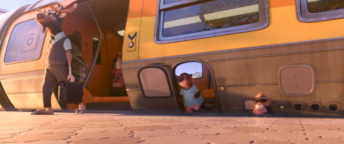 This three-doored train is just one neat little visual detail in Zootopia.