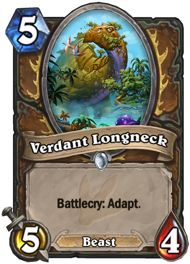 """This Hearthstone card is titled """"Verdant Longneck."""" It costs 5 mana and has 5 attack and 4 health. The text reads """"Battlecry: Adapt."""" The image features a large brown dinosaur-esque creature with trees in its mouth."""