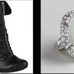 """From left: """"Seattle"""" boot in black, $55.99 (orig. $79.99); Marble faceted acrylic and rhinestone ring, $14.99 (orig. $22)"""