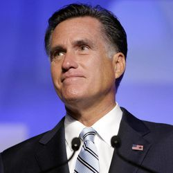 Republican presidential candidate and former Massachusetts Gov. Mitt Romney addresses the U.S. Hispanic Chamber of Commerce in Los Angeles, Monday, Sept. 17, 2012.