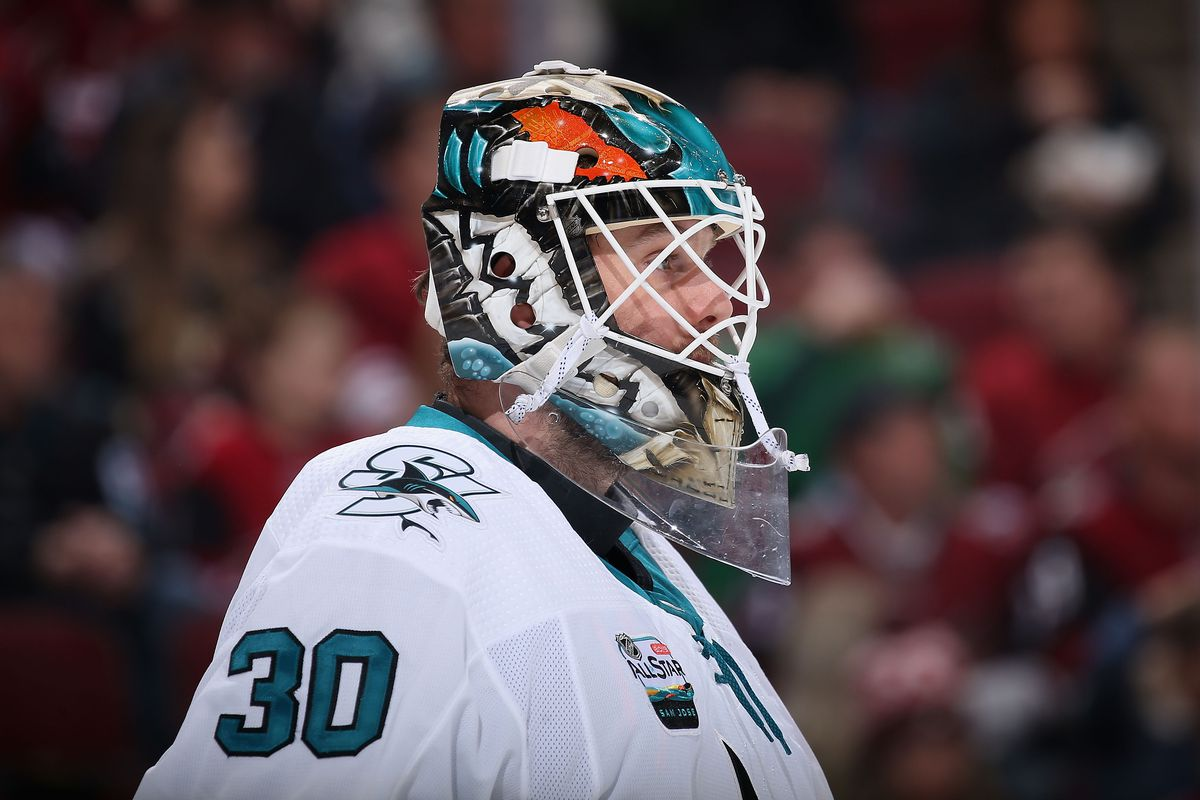 Goaltender Aaron Dell #30 of the San Jose Sharks in action during the first period of the NHL game against the Arizona Coyotes at Gila River Arena on January 16, 2019 in Glendale, Arizona.