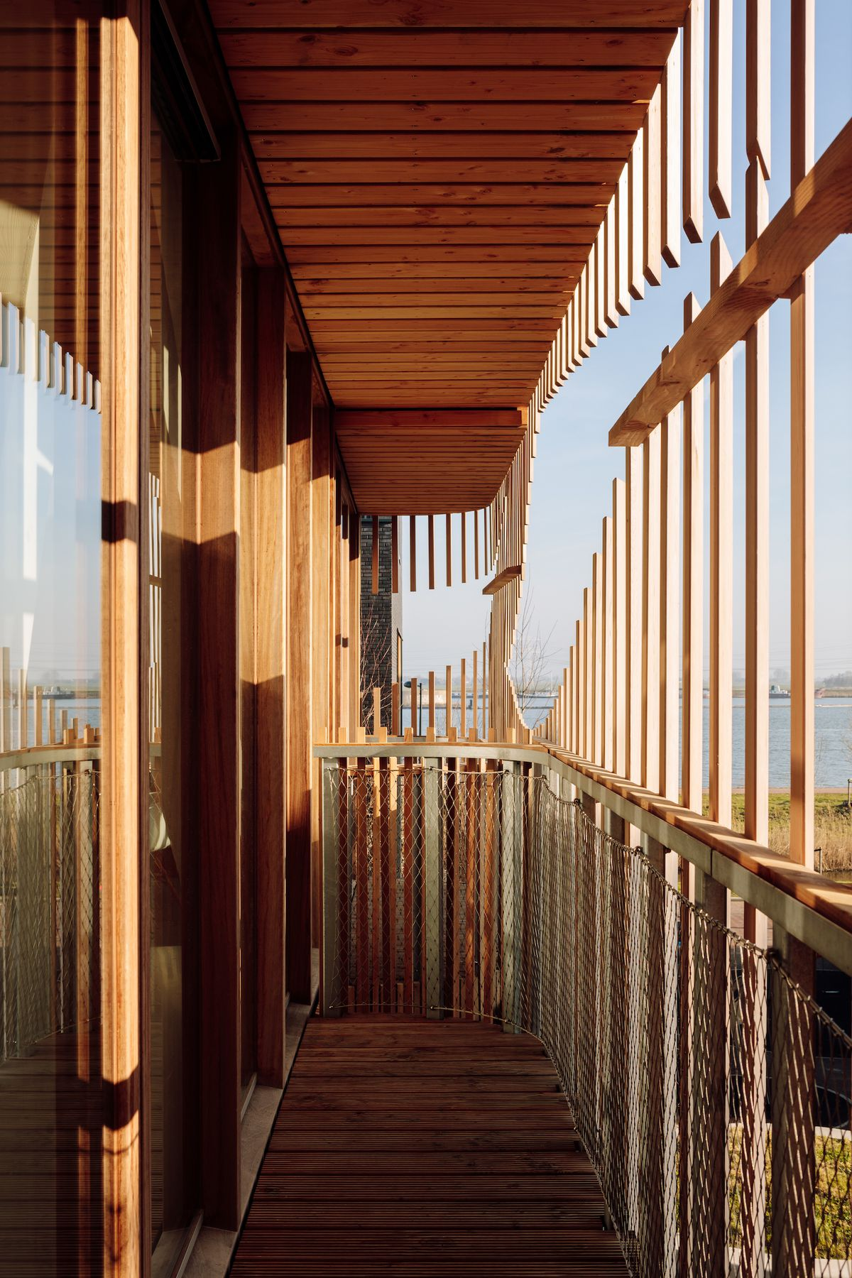 Deck covered in wooden screens.