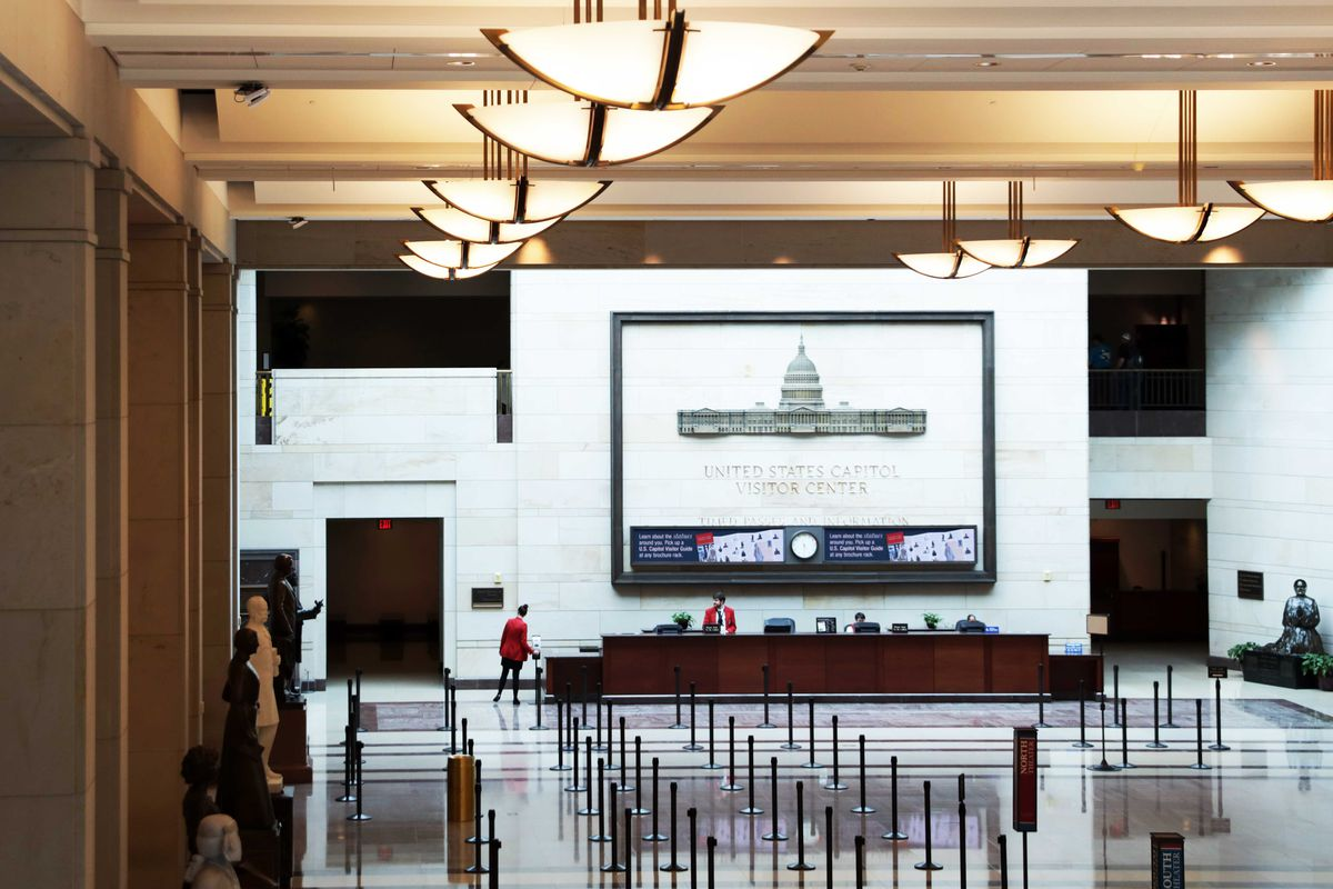 The Capitol Visitor Center in Washington, DC, empty of visitors.