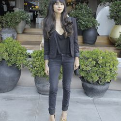 Racked LA's own Natalie Alcala paired her all-black ensemble with a statement shoe by Sole Society.