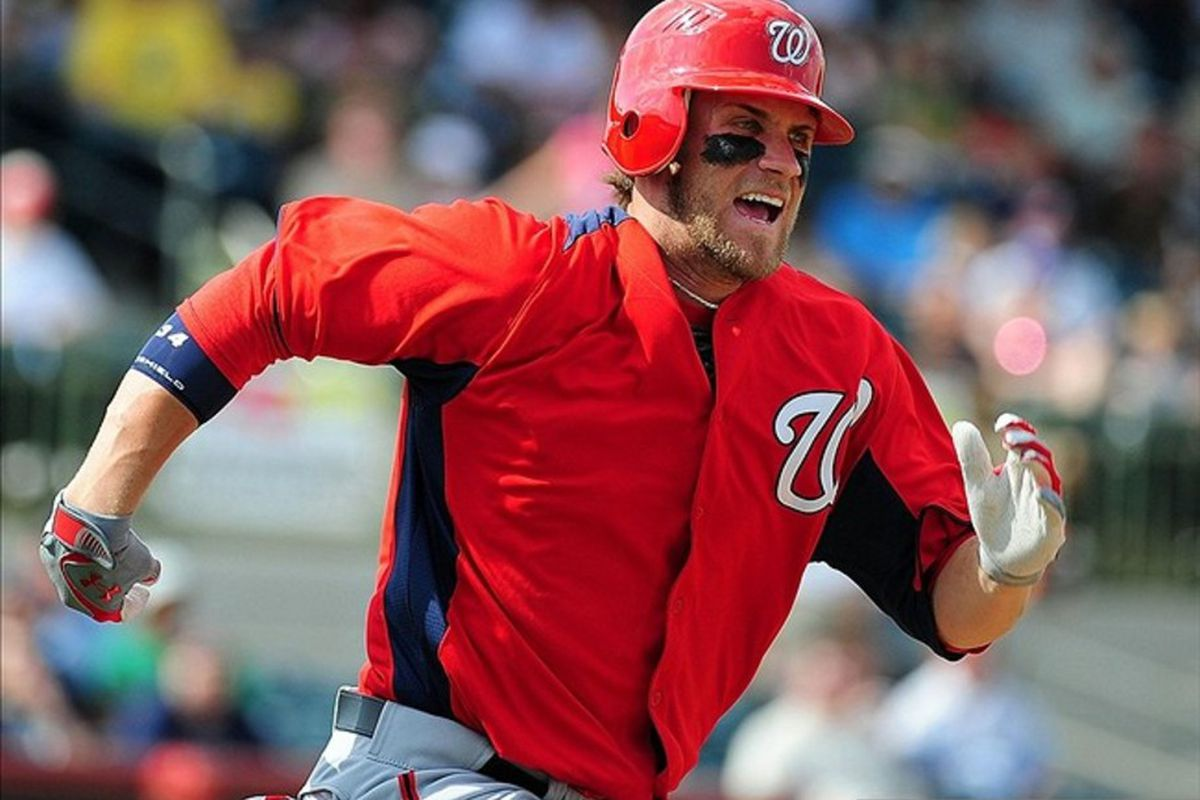 Bryce Harper, sprinting onto your team and into your heart... Mandatory Credit: Andrew Weber-US PRESSWIRE