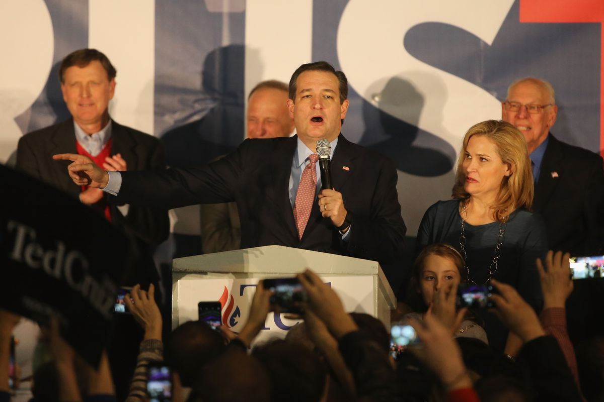 GOP Presidential Candidate Sen. Ted Cruz (R-TX) Holds Caucus Night Gathering At Iowa State Fairgrounds