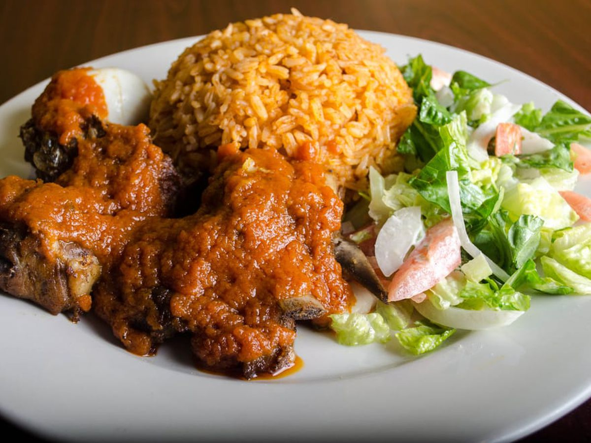 A plate of jollof rice from Appioo African Bar & Grill