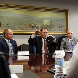 Gov. Gary Herbert talks with the Deseret Media Companies Editorial Board in Salt Lake City on Monday, May 23, 2016.