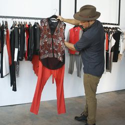 Darrel selecting pieces from Helmut Lang's spring 2013 collection