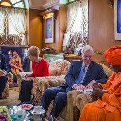 Elder D. Todd Christofferson, a member of the Quorum of Twelve Apostles for The Church of Jesus Christ of Latter-day Saints, and his wife, Sister Kathy Christofferson, visit with guests at the MIT World Peace University prior to attending an  award ceremony in Pune, Maharashtra, India, on August 14, 2017.