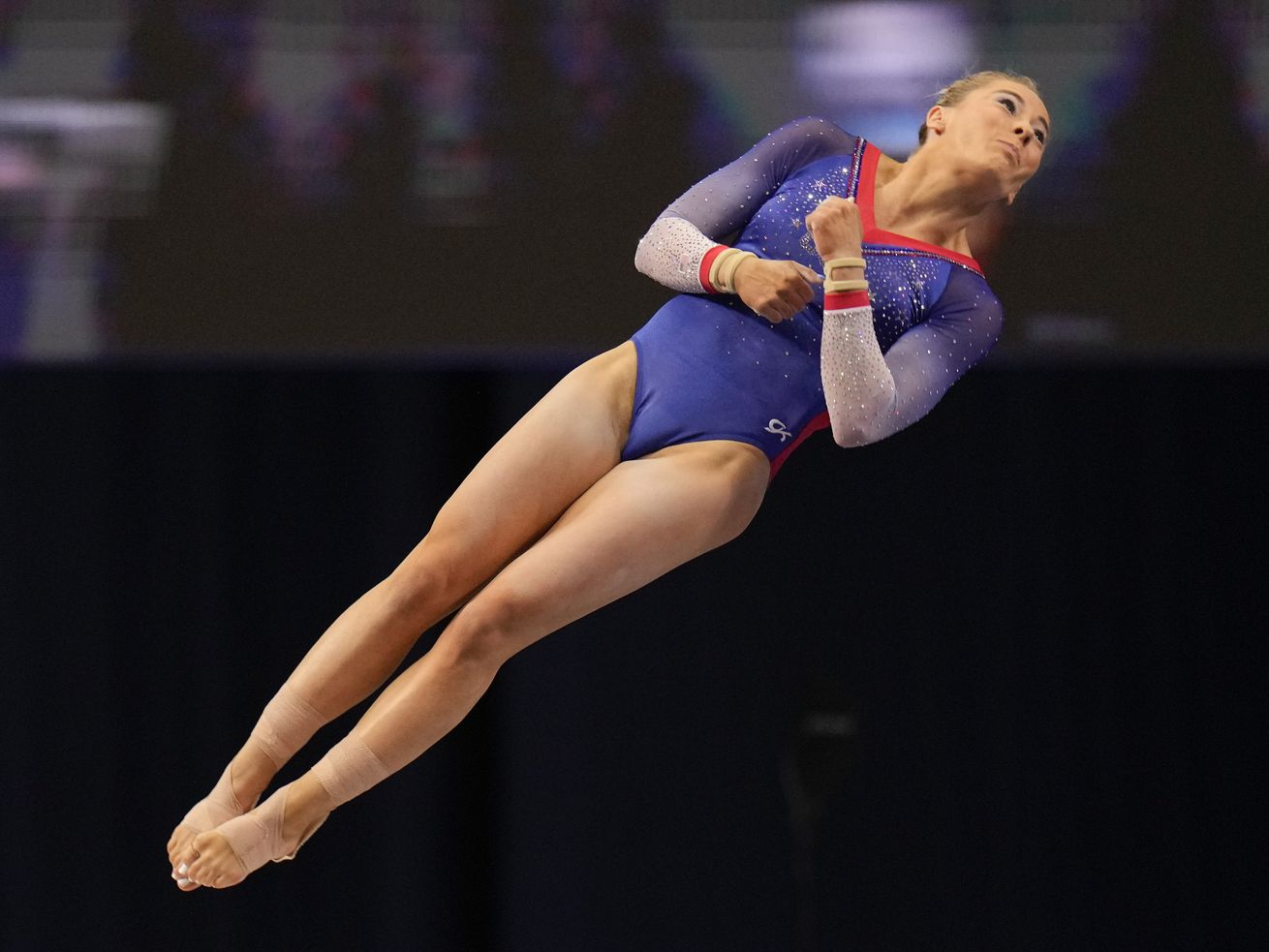 MyKayla Skinner, a former University of Utah gymnast, competes on the vault during the U.S. Olympic Gymnastics Trials.