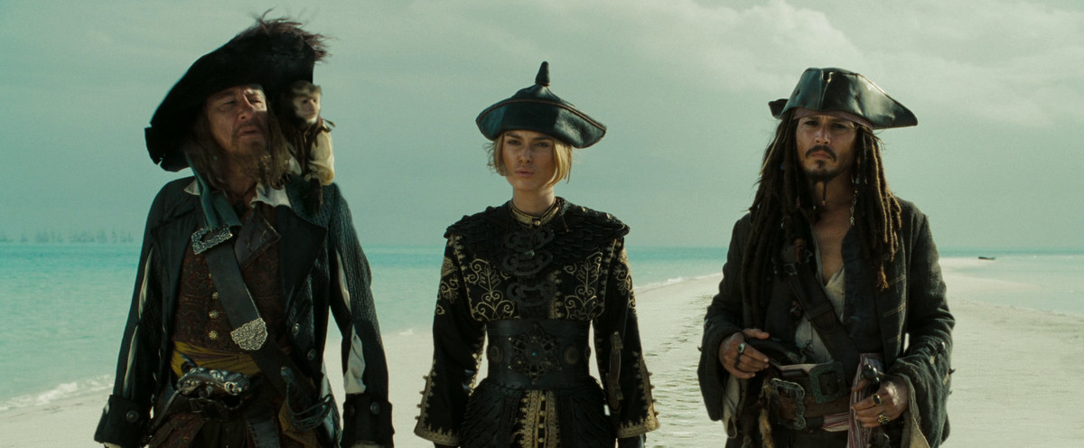 barbossa, elizabeth, and jack sparrow about to negotiate