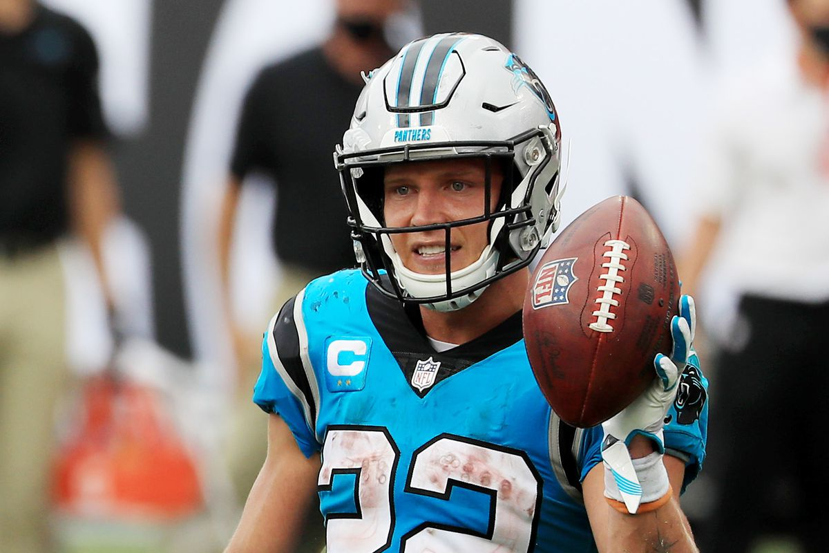Christian McCaffrey of the Carolina Panthers celebrates after scoring a touchdown during the third quarter against the Tampa Bay Buccaneers at Raymond James Stadium on September 20, 2020 in Tampa, Florida.