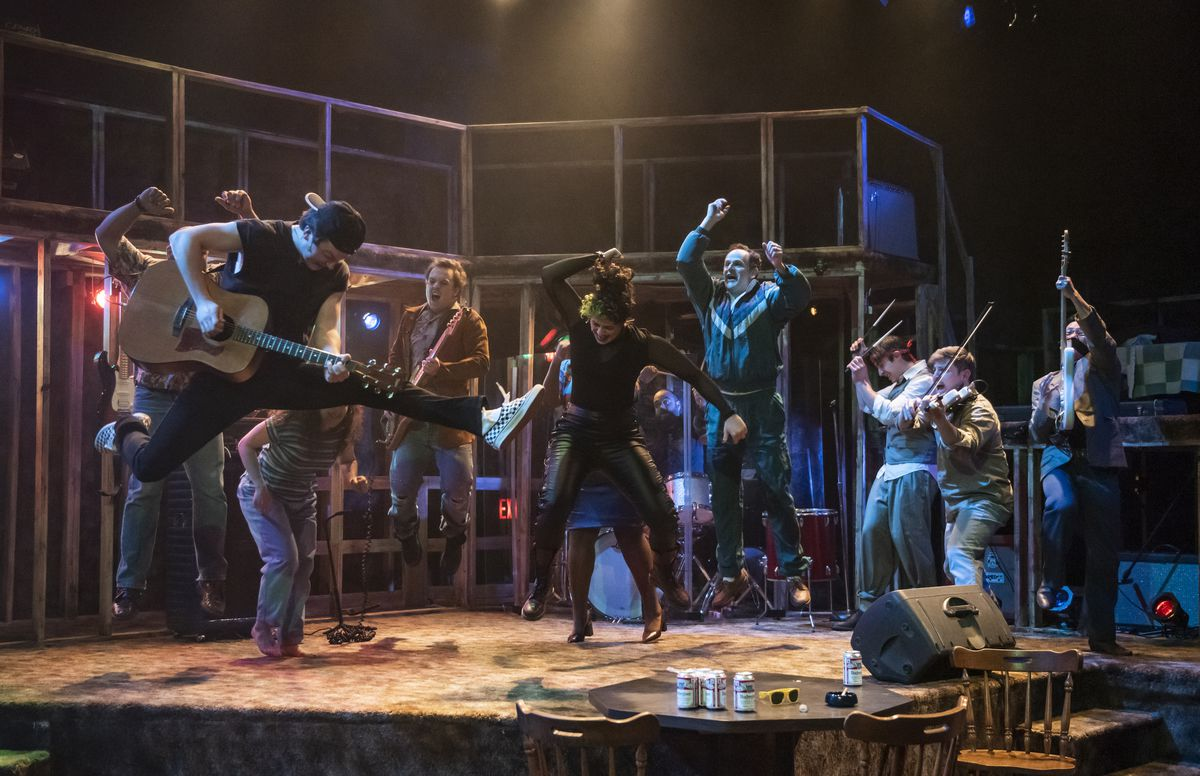 Verboten, the teen band, plays their grown-up gig at the Cubby Bear in a scene from the musical