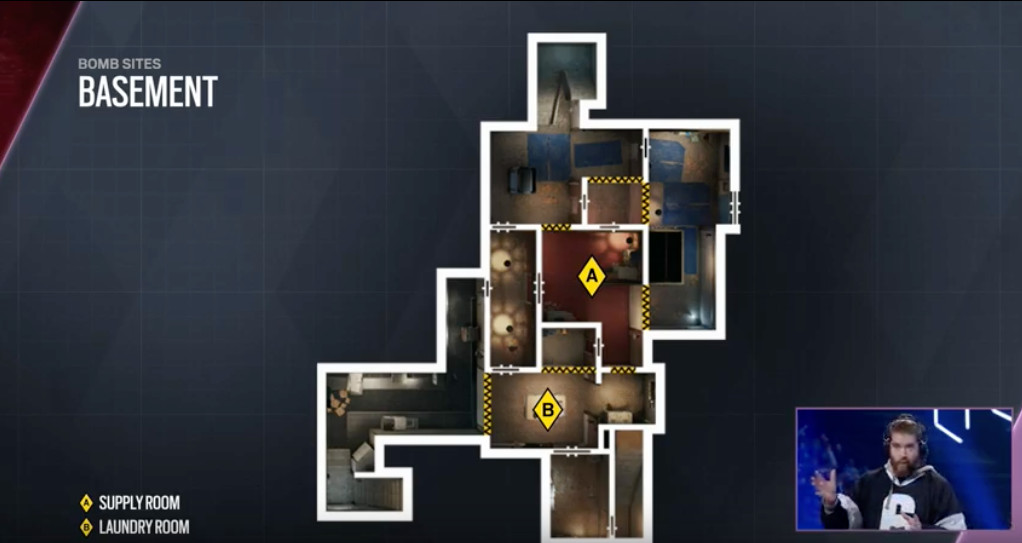 a layout of the redesigned basement in Rainbow Six Siege's Oregon map