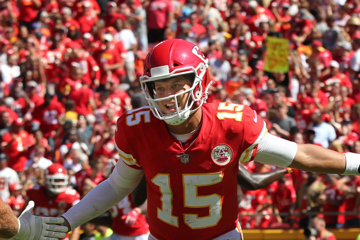 Kansas City Chiefs quarterback Patrick Mahomes after his 13-yard touchdown pass to tight end Demetrius Harris in the second quarter of a week 3 NFL game between the San Francisco 49ers and Kansas City Chiefs on September 23, 2018 at Arrowhead Stadium in Kansas City, MO.