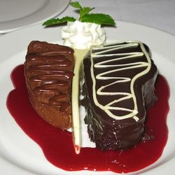 """<b>Dylan Prime's</b> ridiculous """"Porterhouse"""" for Two: Red Velvet """"NY Strip,"""" Frozen Mousse """"Filet"""" and White Chocolate Bone"""
